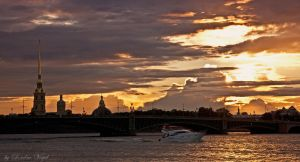 St. Petersburg at sunset by DerDunkleEngel