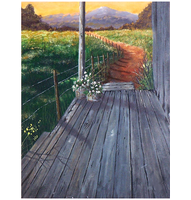 Sunset Porch - acrylic painting by Giselle-M