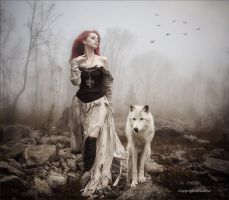 With my wolf by Laura-Graph