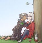 Shale, returned to dwarf form, leans over Wynne who is resting against a tree, next to which sits a bottle and glass of wine
