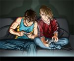 Heero and Trowa- Gamers by SapphireGamgee