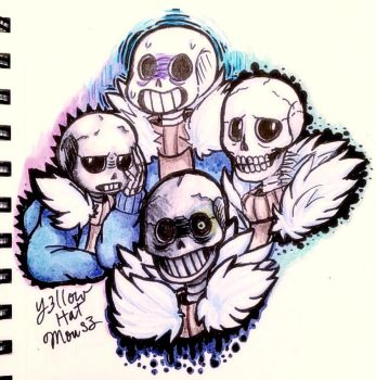 Y3llow's :Different Drawing Styles of Sans: by Y3llowHatMous3