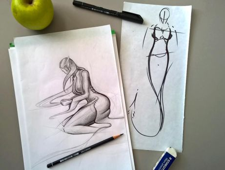 Sketching...SHE by theARTofGOTHIC
