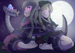Zelda and Linkle captured by Kaa by Ragadabah