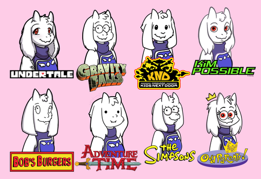 Toriel in various TV-show styles by S1Dni