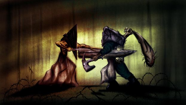 Pyramid Head vs Cube Head (The Keeper) by alexkrat92