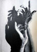 Black and white hands by kayeung