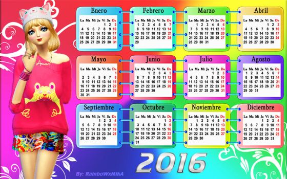 Wall Calendar Sim 2016 by RainboWxMikA