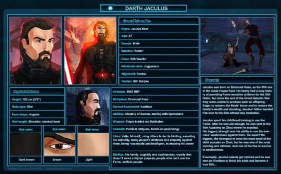 SWTOR Character Sheet - Darth Jaculus by Goldstache