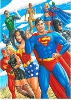 justice league acrylic paintin by SUPERTIAGOF
