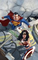 Superman and Wonder Woman by benttibisson