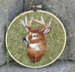 Hand Embroidered Buck by Throughawolfseyes