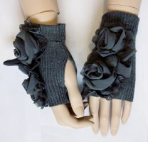 Grey roses romantic mittens II by Pinkabsinthe