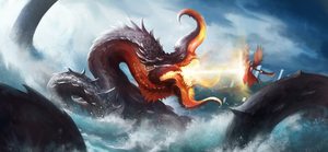Kraken vs angel by PaladinPainter