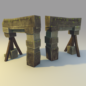 Low poly Broken Stone Gate by lithium-sound