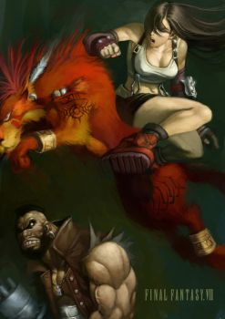 Tifa,Barret and Red XIII by cuson