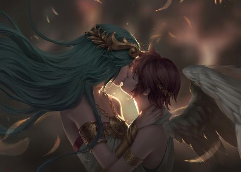 Commission - Palutena and Pit by ChubyMi