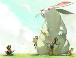 rabbit,cats and caca by cuson