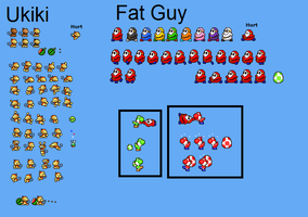 Fat Guy and Ukiki MLSS sprites by lenoxmst