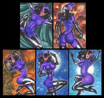 CATWOMAN PURPLE PERSONAL SKETCH CARDS by AHochrein2010