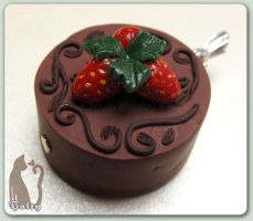 Mini Chocolate Mousse Cake Pendant by Talty