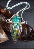 Demeter - Lampwork Glass Bottle Vessel Necklace by andromeda