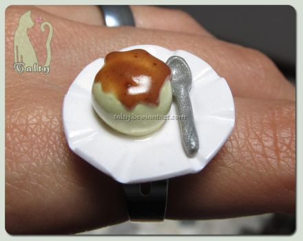 Polymer Clay Flan Ring by Talty