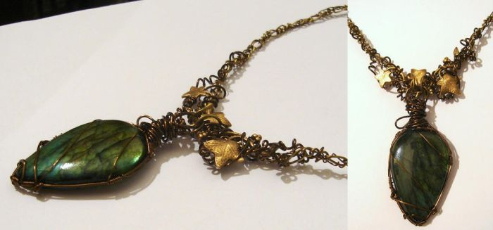 Dryad Necklace with labradorite cabochon by Magic-Jewels
