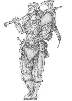 Half-Orc Barbarian by s0ulafein