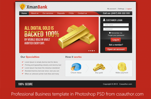 Professional Business Template in Photoshop PSD by cssauthor