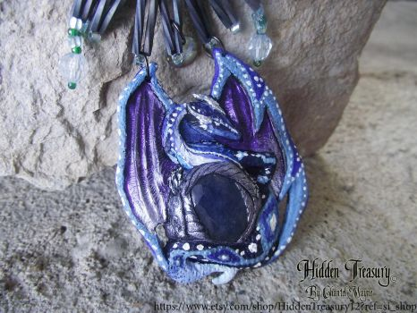 Frost Dragon Pendant OOAK by HiddenTreasury