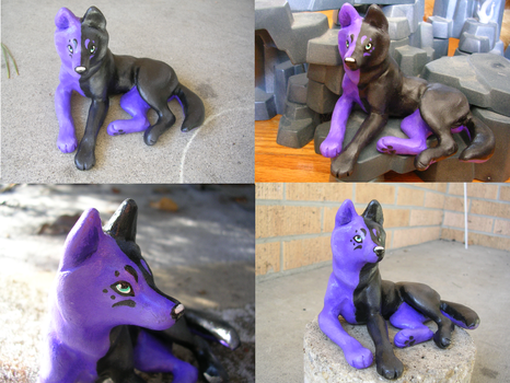 Midnight Wolf Sculpture by WildSpiritWolf