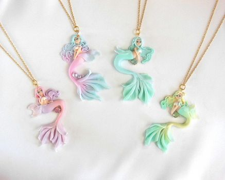 Pastel Mermaid Necklaces by LittleBreeze