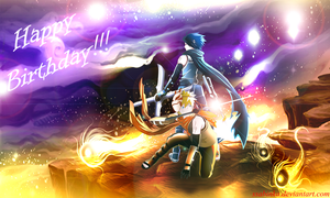 Naruto and Sasuke-Happy B-day Dogi (wallpaper) by Ssabinka