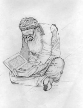 old man reading by d0pe