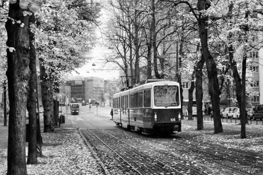 Trams bw by Pajunen