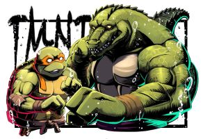 Leatherhead and Michelangelo by inubiko