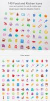 140 Food and Kitchen Icons by ottoson
