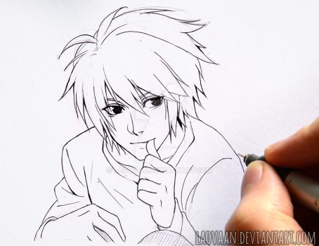Death Note - L (lineart) by Laovaan