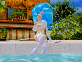 Felicia Sitting at the Poolside by NekoHybrid