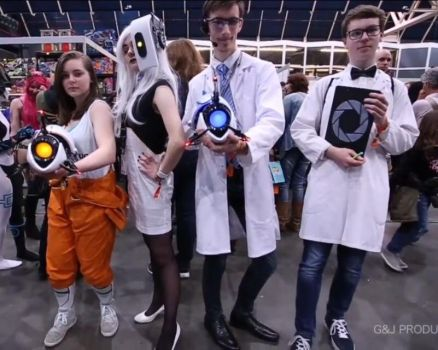 Chell, GLaDOS, Wheatley, and Bill by Dr-Bowman