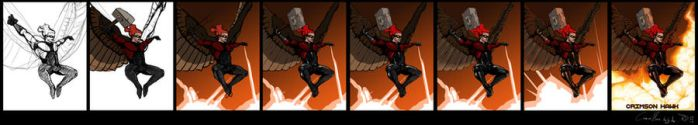 Crimson Hawk poster (step by step) by the0Herbalist