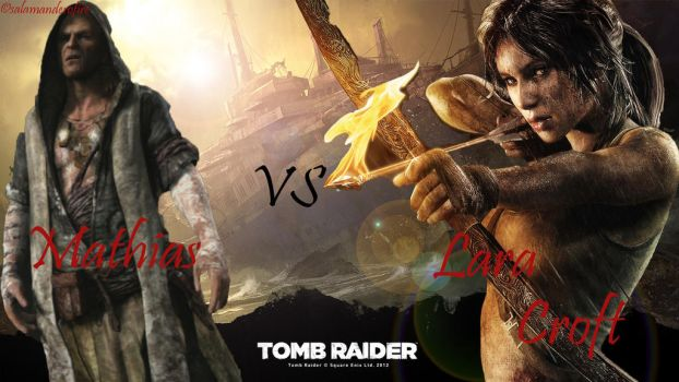 Lara Croft vs Mathias by salamanderofire