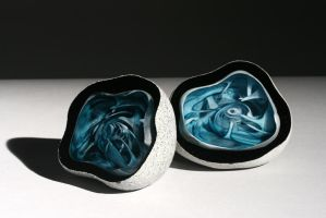 Teal Portals Two by OConnellFineGlass