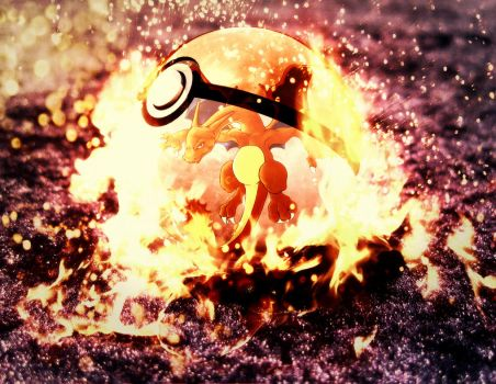 Charizard in pokeball by Jonathanjo