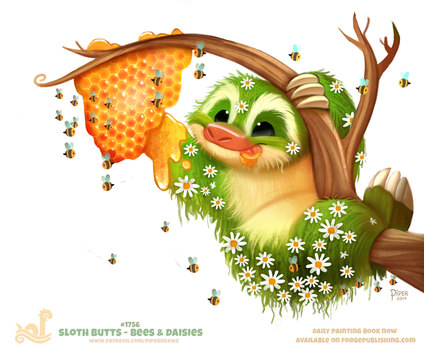 Daily Paint 1756# Sloth Butts - Bees and Daisies by Cryptid-Creations