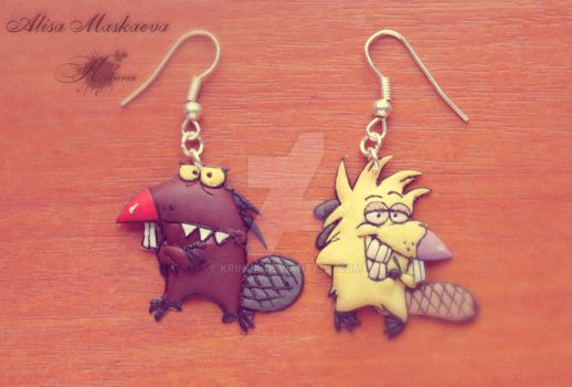 Angry beavers earrings from polymer clay by Krinna