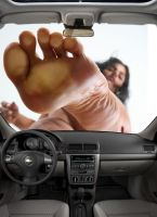 Giantess Foot Pressed On Window by HeyDownHere