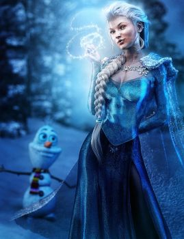 Queen Elsa, Fantasy Fan-Art by shibashake