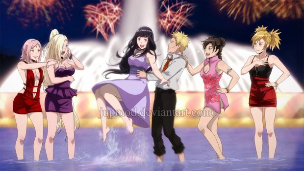 Naruto and the Girls: New Year's Water Fun by JuPMod
